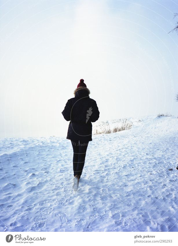 walk on snow Lifestyle Tourism Trip Freedom Sun Winter Snow Young woman Youth (Young adults) Woman Adults Back 1 Human being 13 - 18 years Child Nature