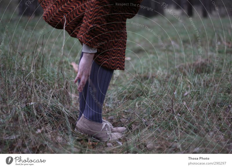 through the forest Feminine Young woman Youth (Young adults) Nature Movement Going Crouch Pinch Footwear Coat Tights Gray Hand Feet Legs Colour photo