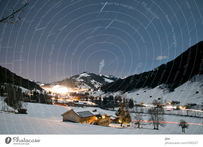 Sky Vacation & Travel Landscape House (Residential Structure) Winter Environment Mountain Life Snow Movement Action Tourism Beautiful weather Stars Branch Alps