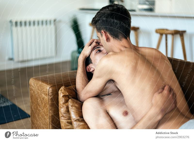Passionate sexual happy gay couple Man Couple Homosexual boyfriend lgbt Relationship Eroticism Lovers Positive shirtless Skin To enjoy Naked Sex Hot Desire Body