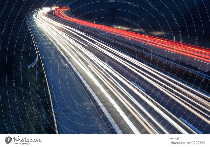 Years passed Transport Means of transport Traffic infrastructure Road traffic Motoring Street Highway Dark Black Colour photo Exterior shot Deserted Night
