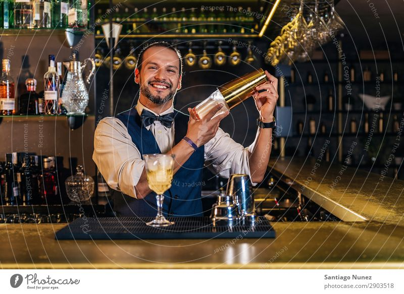 Barman is making cocktail at night club adding Alcoholic drinks barman bartender Beverage Bottle Business Club Cocktail Cooking Counter Drinking Elegant