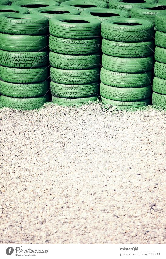 Tire pile. Transport Esthetic Racecourse Racing sports Accident Safety Stack Speed Speed rush Green Formula 1 Gravel Pebble Gravel bed Colour photo