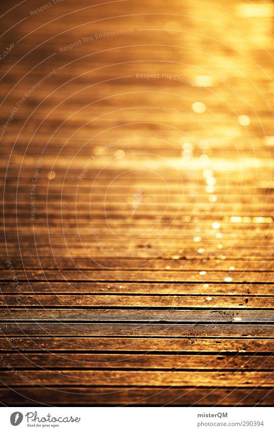 Golden days. Art Esthetic Golden yellow Goldrush Shallow depth of field Yellow Romance Idyll Jetty Footbridge Chopping board Wooden floor Vacation mood Sunset