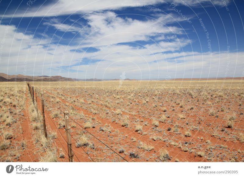 Namib Desert Rim Landscape Earth Sand Sky Clouds Horizon Summer Namib desert Red Blue Far-off places Nature Africa Namibia Fence Deserted Grass Eternity