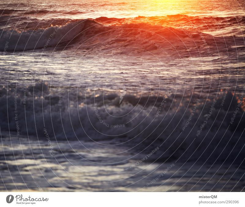 Surfer's Heart. Art Esthetic Sun Vacation & Travel Wanderlust Vacation photo Vacation destination Vacation mood Waves Swell Undulation Wave action Gold Red