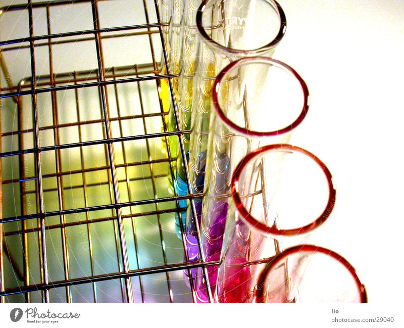 ringlet Test tube Experimental Science & Research Laboratory Prismatic colors Multicoloured Grating ph-values Chemistry Attempt Glass