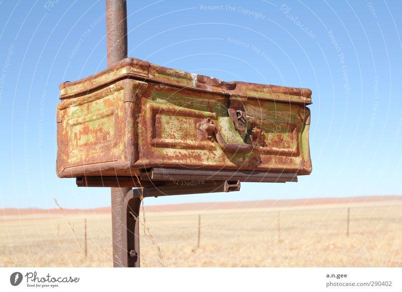 desert mailbox Metal Lock Blue Brown Suitcase Rust Old Ancient rusty Derelict shabby Closed Mailbox Namibia Africa Desert Broken Vacation & Travel Luggage