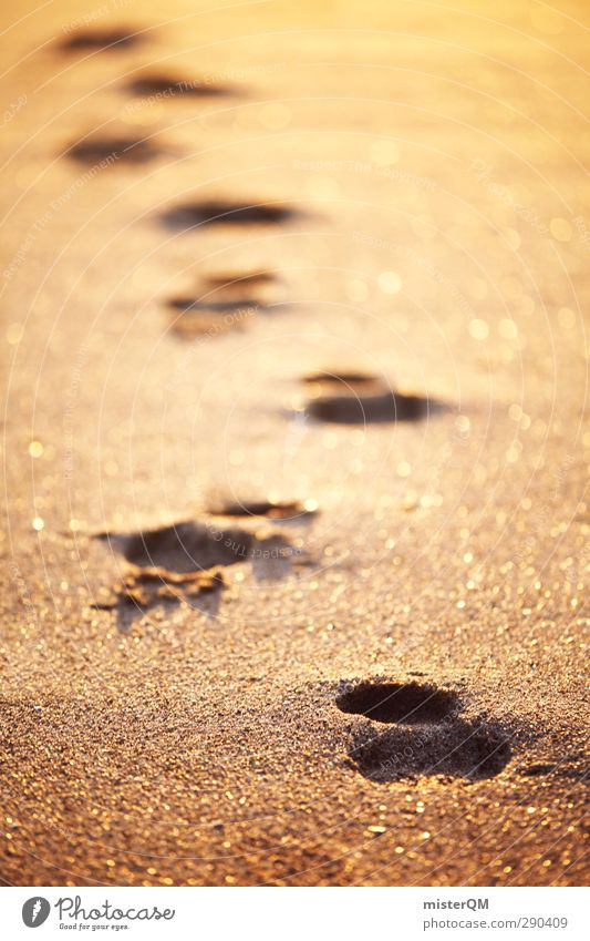 Vacation & Travel Loneliness Calm Relaxation Sand Art Gold Contentment Esthetic Eternity Wellness Tracks Past Footprint Remote Stride