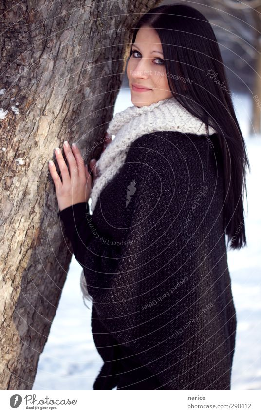 Human being Youth (Young adults) Beautiful White Tree Winter Black Adults Face Young woman Feminine Hair and hairstyles Happy 18 - 30 years Fashion Moody