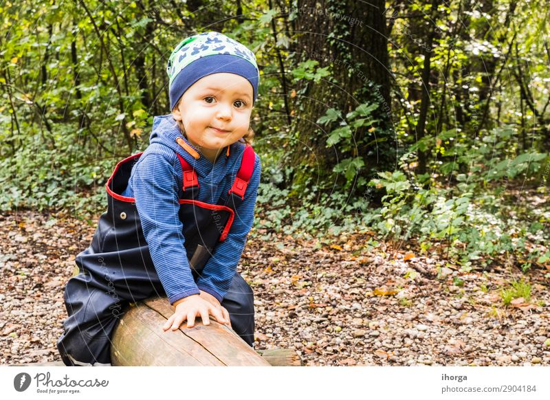 baby playing on a forest path in autumn Lifestyle Joy Happy Vacation & Travel Tourism Adventure Freedom Hiking Hallowe'en Child Human being Baby Boy (child) Man