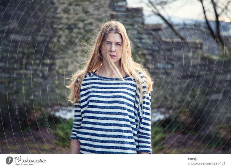 should I? Feminine Young woman Youth (Young adults) 1 Human being 18 - 30 years Adults Blonde Beautiful Striped sweater Colour photo Exterior shot Day