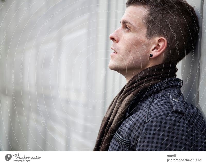 grEy Masculine Young man Youth (Young adults) 1 Human being 18 - 30 years Adults Scarf Beautiful Colour photo Subdued colour Exterior shot Copy Space left Day