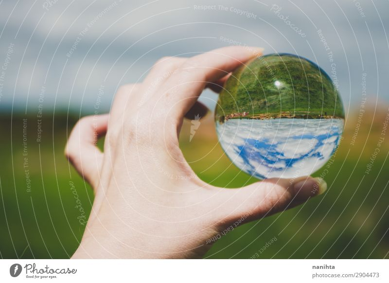 Hand holding a crystal ball with a landscape Style Design Vacation & Travel Tourism Adventure Freedom Environment Nature Landscape Sky Spring Summer Climate