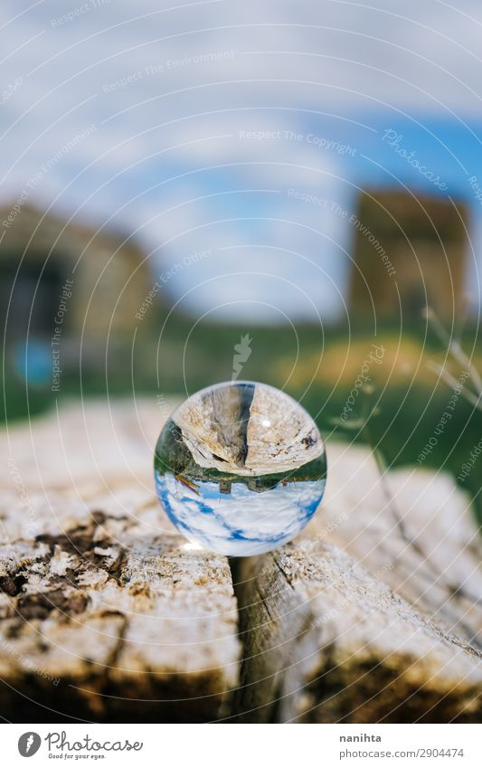 Rural scene viewed through a crystal ball Environment Nature Sky Spring Summer Beautiful weather Field Village Deserted Wood Glass Crystal Sphere Authentic