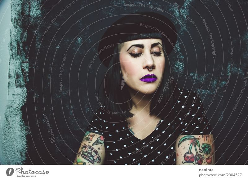 Cool plus size alternative model with tattoos Lifestyle Style Hair and hairstyles Skin Face Make-up Human being Feminine Young woman Youth (Young adults) Woman