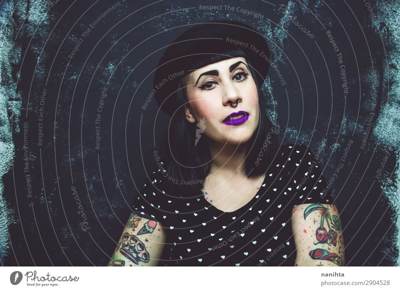 Cool plus size alternative model with tattoos Woman Human being Youth (Young adults) Young woman Beautiful Face Lifestyle Adults Feminine Style Exceptional Rock