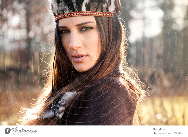 Equinox. Human being Feminine Young woman Youth (Young adults) Life 1 18 - 30 years Adults Fashion Cape Accessory Headwear Feather Hair and hairstyles Brunette