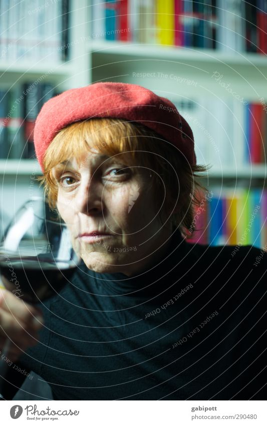 To life! Human being Feminine Woman Adults Life 1 45 - 60 years Red-haired Cap Hat Drinking Emotions Senior citizen Experience Passion Dream Interior shot