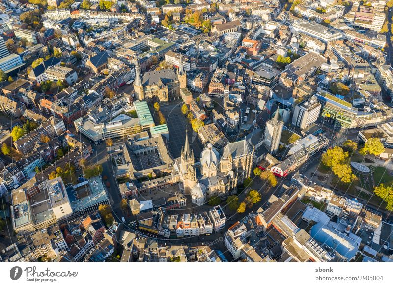 Aachen Town Downtown Old town Skyline Tourist Attraction Landmark Monument Religion and faith aces aix-la-chapelle City aerial Colour photo