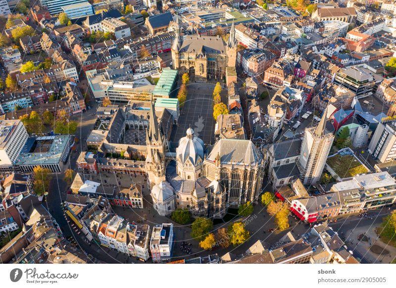 Aachen Town Capital city Downtown Outskirts Old town Tourist Attraction Landmark Monument Religion and faith aces aix-la-chapelle City aerial Colour photo