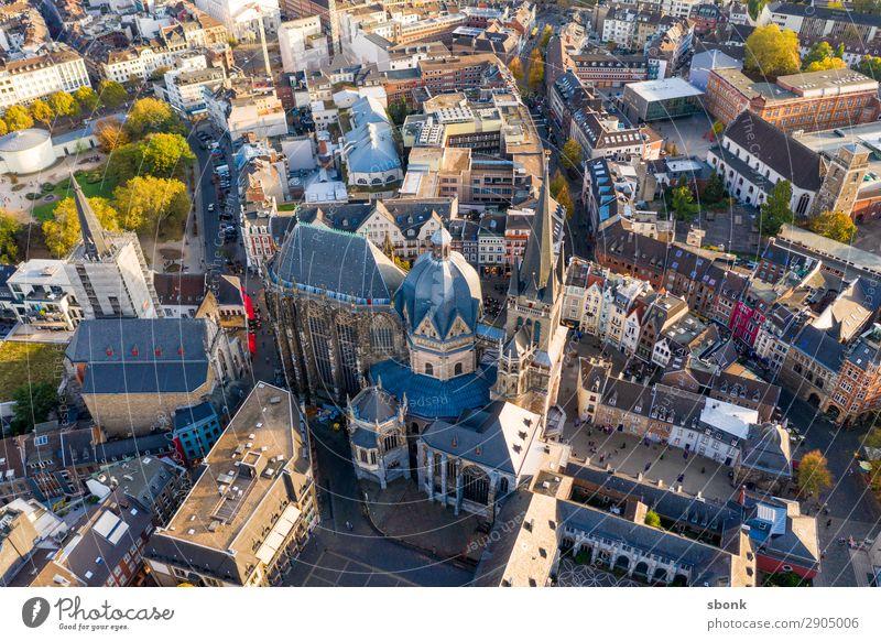 Aachen Town Downtown Old town Tourist Attraction Landmark Monument Religion and faith aces aix-la-chapelle City aerial Colour photo
