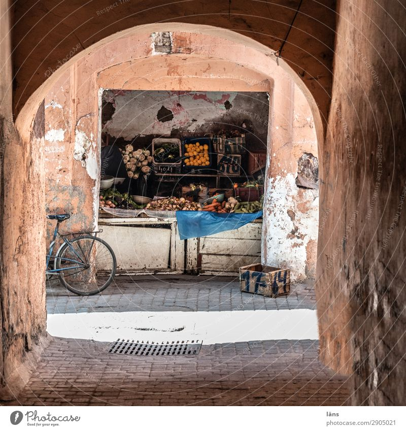 greengrocers Food Vegetable Tourism Trip Marrakesh Morocco Africa Old town Traffic infrastructure Cycling Lanes & trails Simple Exotic Shopping Greengrocer