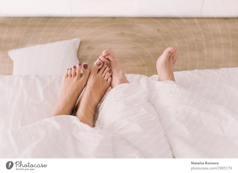 Two pairs of feet appear below the sheet Body Relaxation Leisure and hobbies Bedroom Human being Friendship Couple Fingers Feet Love Sleep Sex Eroticism