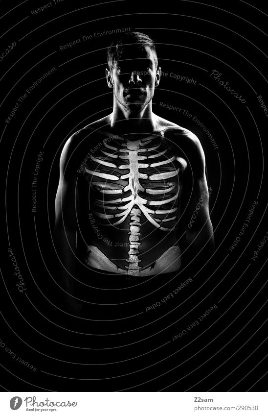 skeleton Masculine Young man Youth (Young adults) 30 - 45 years Adults Esthetic Athletic Dark Creepy Muscular Naked Trashy Bizarre Healthy Identity Uniqueness