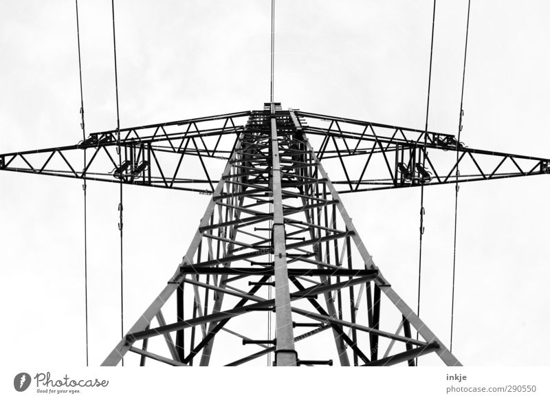 Top Energy industry Cable Metal Line Network Threat Tall Above Power transmission Electricity Electrical wire Prop Black & white photo Exterior shot Deserted