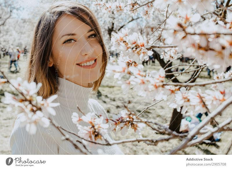 Young happy woman between trees in garden Woman Tree Garden Blooming Happy Youth (Young adults) Twig Wood Flower Hill Attractive Cheerful Branch Lady Park