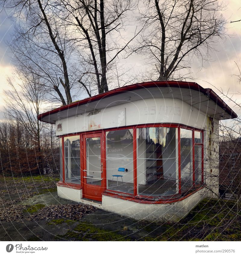 The Blue Chair Outskirts Deserted Places Manmade structures Window Door Brown Green Red White Pavilion Kiosk Colour photo Exterior shot Day