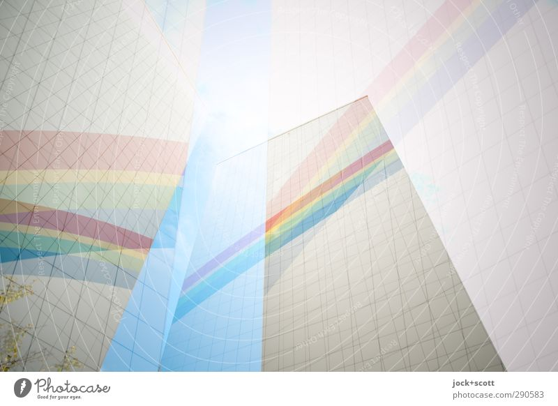 colorful arches Prefab construction Facade Sign Stripe Sharp-edged Bright Above Hope Ease Network Irritation Rainbow Double exposure Reaction Illusion