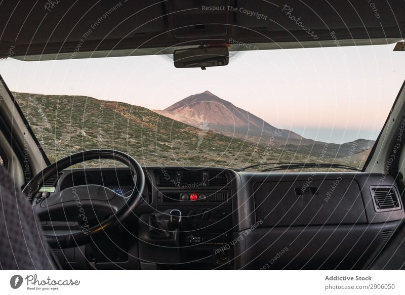 View from automobile on top of hill Car Mountain Top Teide Tenerife Canaries Spain Peak Vantage point Hill Picturesque Amazing Landscape Nature
