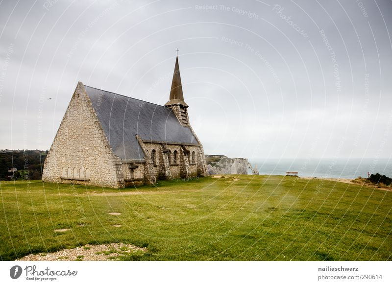 Étretat Nature Landscape Air Water Hill Rock Coast Ocean France Normandie Europe Small Town Deserted House (Residential Structure) Church Manmade structures