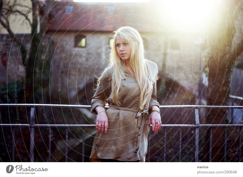 I'll wait for you Feminine Young woman Youth (Young adults) Adults 1 Human being 18 - 30 years Small Town Old town Bridge Fashion Blouse Ring Blonde Long-haired