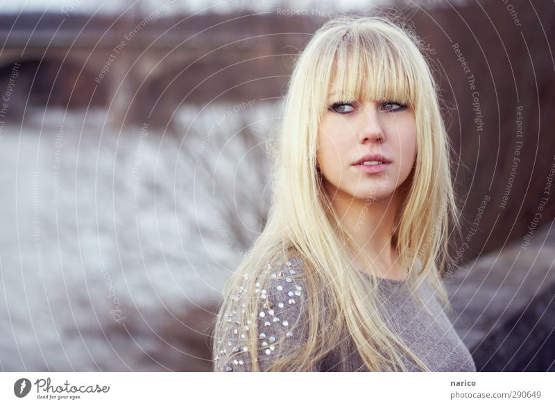 I'll go with you Beautiful Feminine Young woman Youth (Young adults) Adults 1 Human being 18 - 30 years Winter River Bridge Sweater Blonde Long-haired Bangs