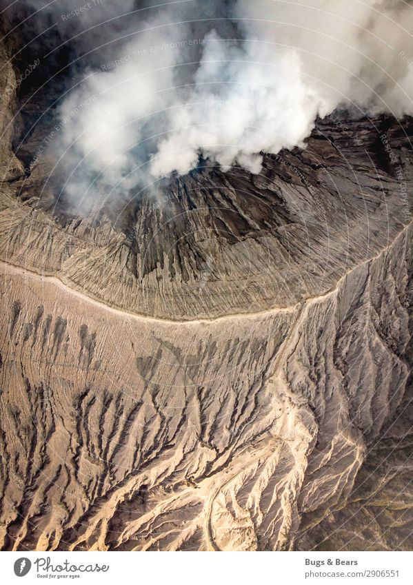 The crater Environment Nature Landscape Elements Earth Sand Fire Air Climate Climate change Warmth Volcano bromo Canyon Desert Esthetic Exceptional Threat Hot