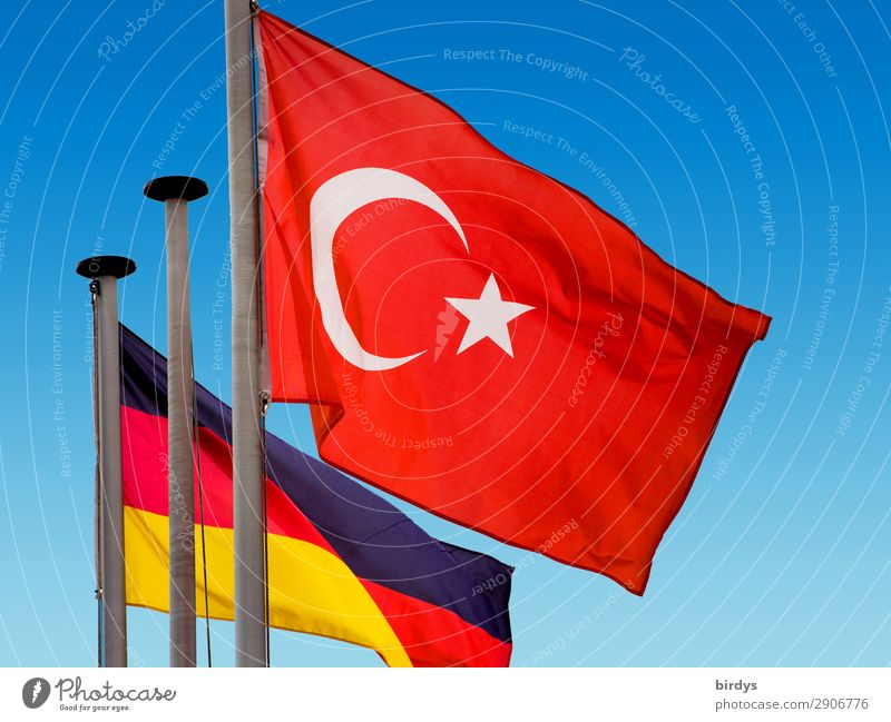 Conflict and consensus Cloudless sky Beautiful weather Wind Turkey Germany Sign Flag Authentic Blue Gold Red Black White Self-confident Might Safety Together
