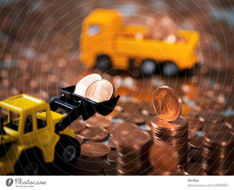 Disposal of 1 cent and 2 cent coins Money Workplace Construction site Financial Industry Truck Wheel loader Sign Euro symbol Coin Cent Movement Yellow Orange