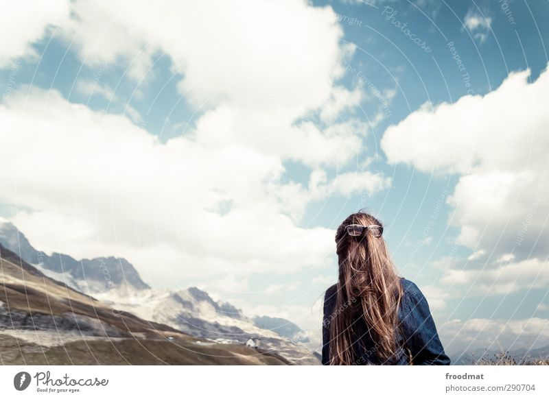 cousin it Tourism Trip Adventure Mountain Human being Feminine Young woman Youth (Young adults) Woman Adults 1 Nature Landscape Sky Summer Autumn