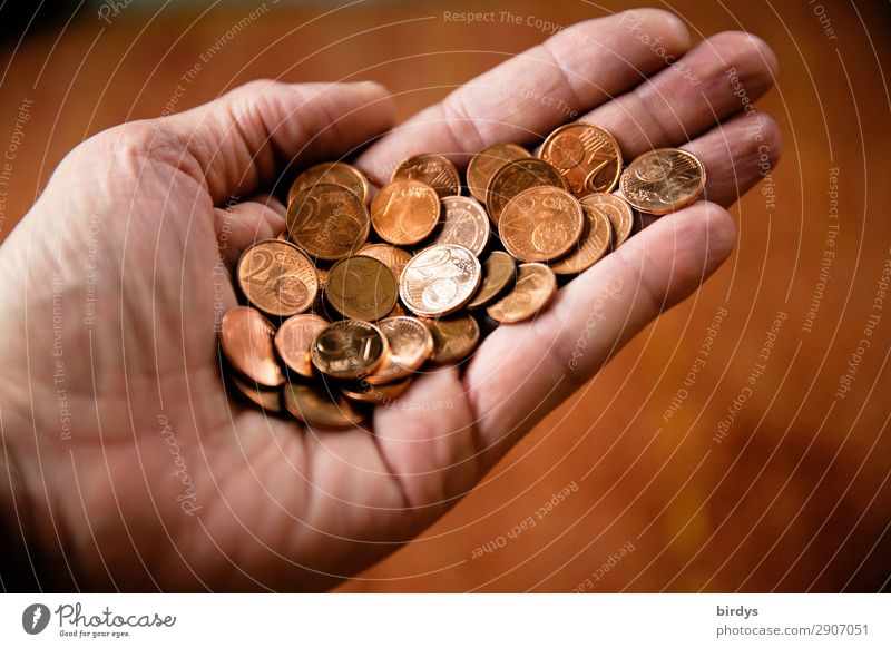 Lots of money, little value Shopping Money Hand 1 Human being Coin Cent Paying To hold on Poverty Authentic Brown Red Thrifty Concern Fear of the future Stress