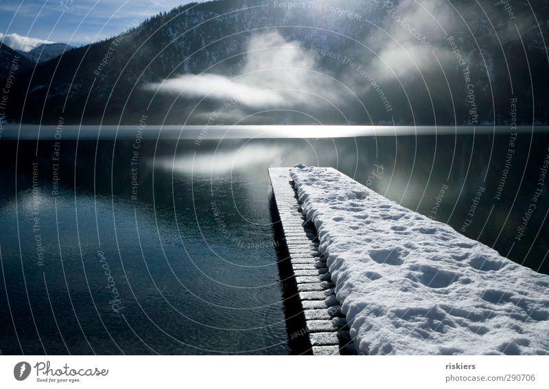 Nature Loneliness Calm Winter Environment Idyll Contentment Beginning Adventure Lakeside Target Peace Footbridge Snow