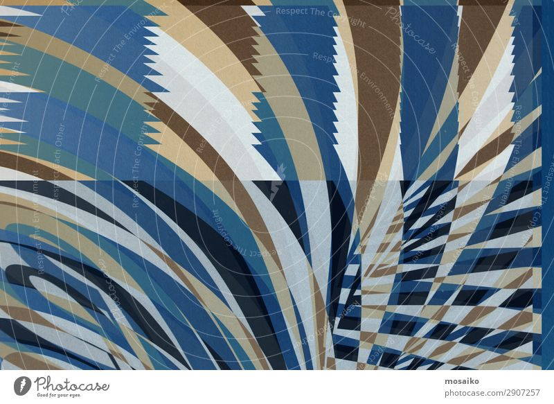 stripes on paper - blue, beige, white Lifestyle Elegant Style Design Joy Happy Entertainment Party Event Feasts & Celebrations Art Work of art Circus Esthetic