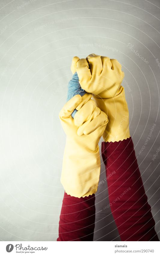 spring cleaning Hand 1 Human being Workwear Protective clothing Gloves Wet Dry Blue Yellow Red Services Do the dishes Rinse Floor cloth Cleaner Rotate Cleaning