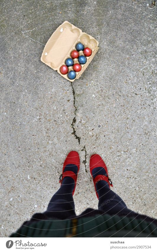 Easter times different (2) Feasts & Celebrations Tradition customs Easter egg Multicoloured Red Blue Street Asphalt City life Legs Feet High heels feminine