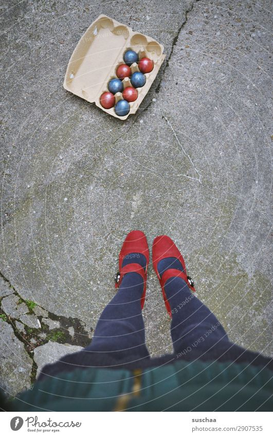 Easter with a difference Feasts & Celebrations Tradition customs Easter egg Multicoloured Red Blue Street Asphalt City life Legs Feet High heels feminine