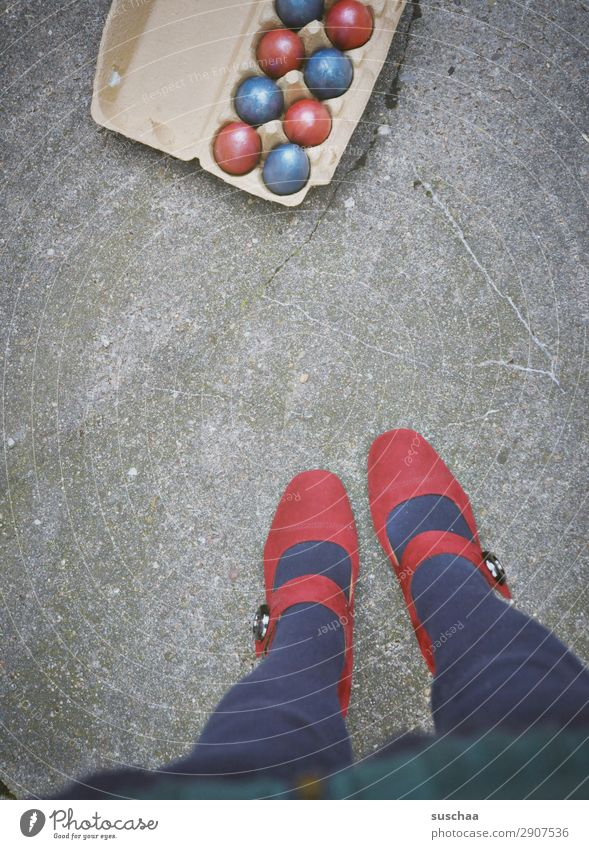 Happy Easter Feasts & Celebrations Easter egg Multicoloured Red Blue Street Asphalt City life Legs Feet High heels feminine Human being Woman Strange