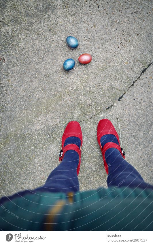 one - two - three - easter egg Easter Feasts & Celebrations Easter egg Multicoloured Red Blue Street Asphalt City life Legs Feet High heels feminine Human being
