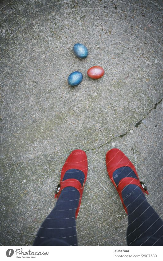 Woman Human being Blue Red Street Legs Feasts & Celebrations Feet City life Easter Asphalt Strange Easter egg High heels